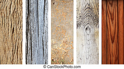 Set of wooden banners with old wood texture - Collection of...