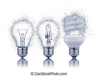 three kinds of light bulbs with Reflection
