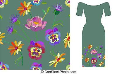 Wildflowers and pansies. Party dress design.