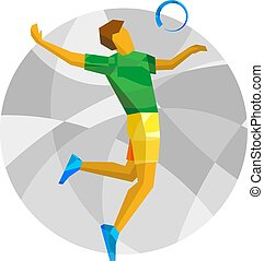 Volleyball player with abstract patterns