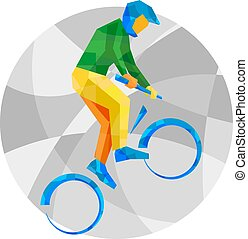 Cycling BMX with abstract patterns