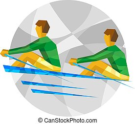 Two sportsman in boat on gray background