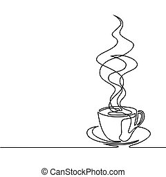 continuous line drawing of cup of coffee - Continuous line...