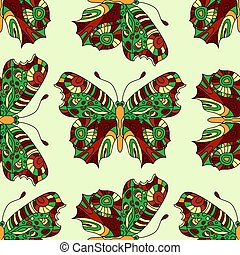 Seamless vector hand drawn pattern with fantasy butterflies in modern style.