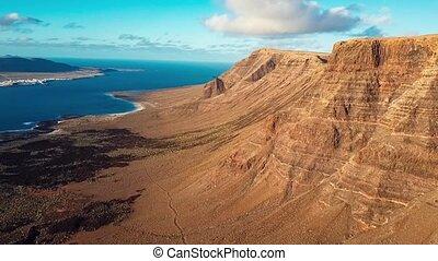 Aerial view near Mirador del Rio viewpoint, Lanzarote,...