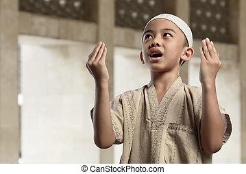 男孩, 很少, 提高, 穆斯林, 手, 亞洲人, 祈禱
