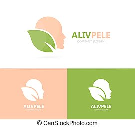 Vector of man and leaf logo combination. Face and eco symbol...