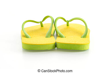 Rubber slippers on white background