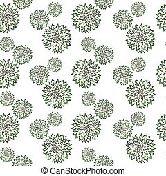 Abstract vector pattern with hand drawn green flowers. Used for textile, wrapping paper, wallpaper, scrap booking, background for greeting cards