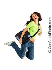 Happy student - Young smiling student woman. Over white...