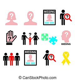 Missing people - man and woman, missing children icons set -...