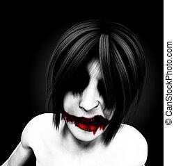 Palhaço, sinistro, femininas, Mal,  psychotic