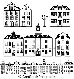 City scene - Set of old houses, black white design, isolated...