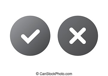 Tick cross signs set - Tick and cross gray signs. Silver...