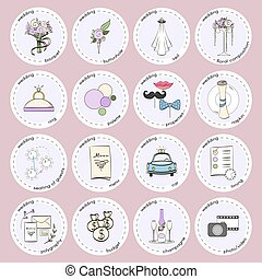 Vector set with wedding icons and elements. Used for wedding...