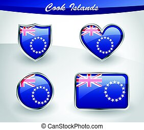 Glossy Cook Islands flag icon set with shield, heart, circle...