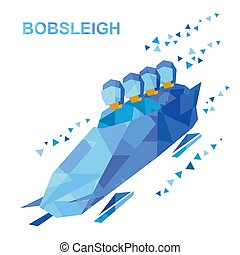 Winter sports - bobsleigh. Cartoon athletes ride in bobsled....
