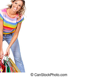 Shopping woman - Shopping smile woman. Isolated over white...