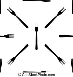 Fork icon seamless pattern on white background. Vector Illustration