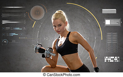 happy young sporty woman exercising with dumbbell - fitness,...