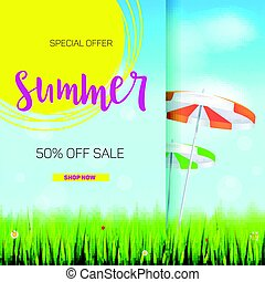 Summer sale banner. Stylish advertisement text poster on blue summer sky backdrop with clouds, sun umbrellas, grass, daisies and ladybugs. Template mock-up for online shopping, advertising actions