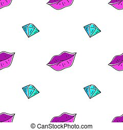 seamless pattern of lips and diamond