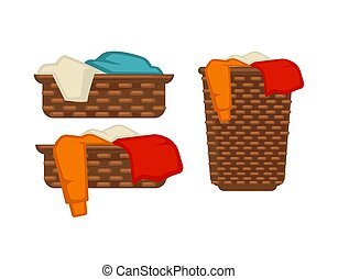 Wicker baskets with dirty laundry isolated illustrations set...