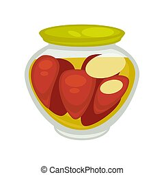 Canned mushrooms or red pepper in small jar isolated on...