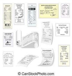 plano, Conjunto, cheques, comercial, aislado, vector, blanco...
