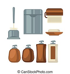 Bathroom things collection in brown and grey colors