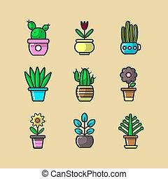 Cartoon green indoor plants in pots big collection - Ever...