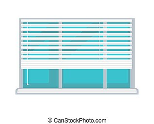 Plastic window with white half-mast blinds isolated...