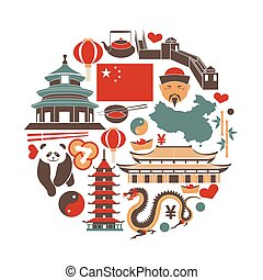 Chinese national things collection in circle on white -...