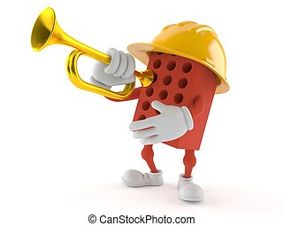 Brick character playing the trumpet