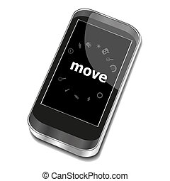 Text Move. Business concept . Smartphone with business web icon set on screen