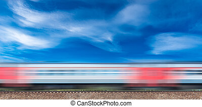 Highspeed train moves on the hill. - Highspeed train moves...