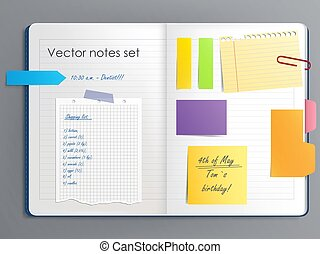 Vector illustration of a notebook page with various colored sticky paper notes