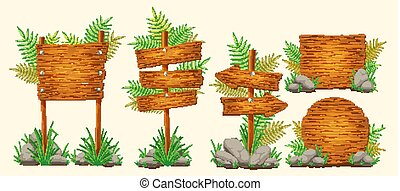 Set of vector cartoon wooden signs of various forms - Set of...