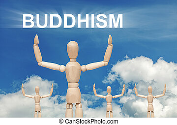 Wooden dummy puppet on sky background with text BUDDISM....