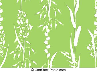 Seamless pattern with herbs and cereal grass silhouettes. Floral ornament of meadow plants