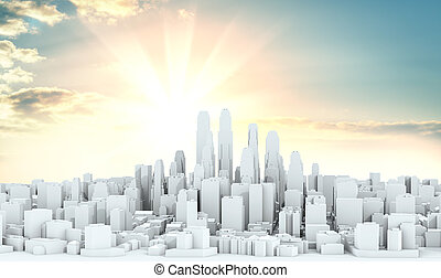 White city downtown on sky background