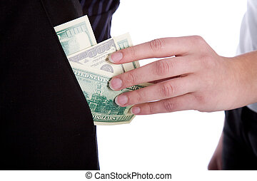 family budget - woman taking money from pocket