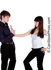reject - young woman rejecting man's offer