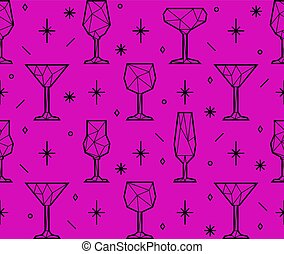 Seamless pattern of triangle alcoholic glasses