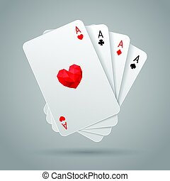 Set of four aces playing cards suits. Poker hand