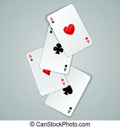 Set of four ace playing cards suits. Poker hand