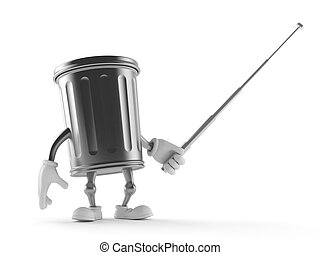 Trash can character holding pointer stick isolated on white...