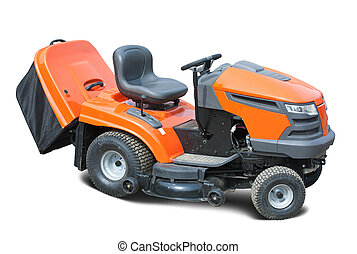 lawn mower - Orange lawn mower Isolated with clipping path