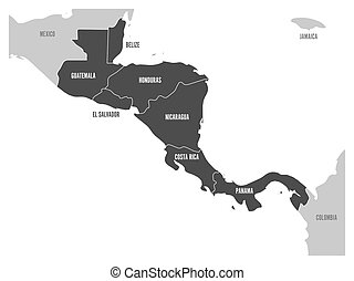 Map of Central America region with dark gray highlighted central american states. Country name labels. Simple flat vector illustration