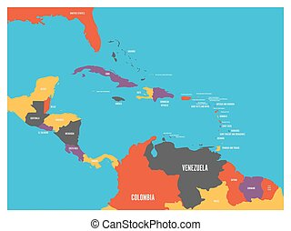 Central America and Carribean states political map with country names labels. Simple flat vector illustration